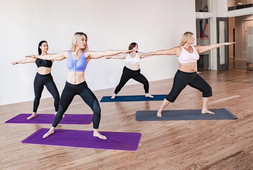 Group of women in a yoga class